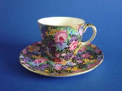 Royal Winton 'Hazel' Chintz Demi Tasse Coffee Cup and Saucer c1939 #1
